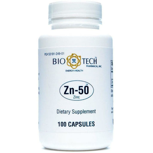 Bio-Tech, Zn-50 Zinc Gluconate 50 mg 100 caps
