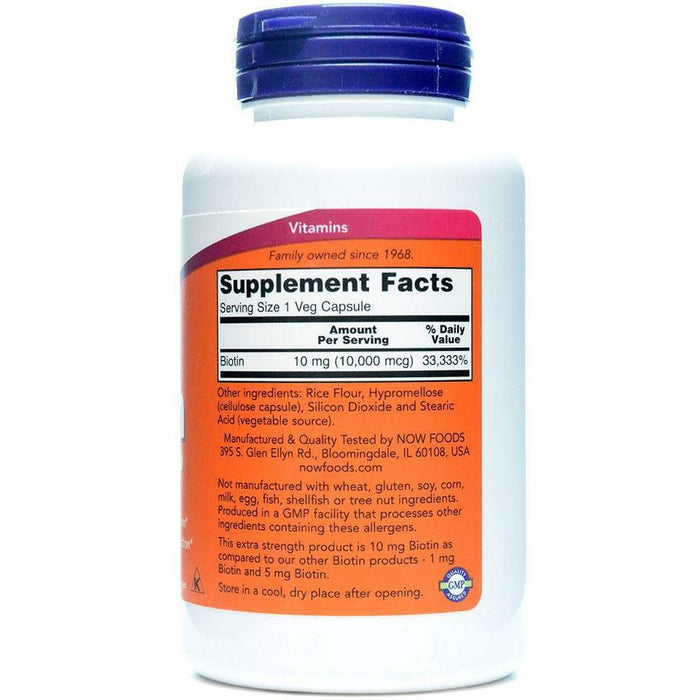 Biotin Extra Strength 10 mg 120 vcaps by NOW