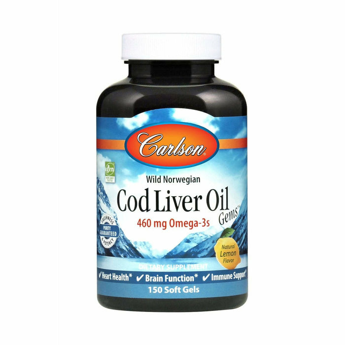 Carlson Labs, Cod Liver Oil Lightly Lemon 1000 mg 150 gels