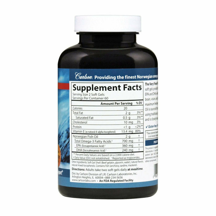 Very Finest Fish Oil 700 mg, Orange 120 gels by Carlson Labs
