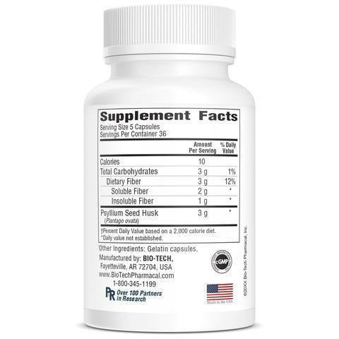 Evac (Psyllium Fiber) 180 caps by Bio-Tech Supplement Facts