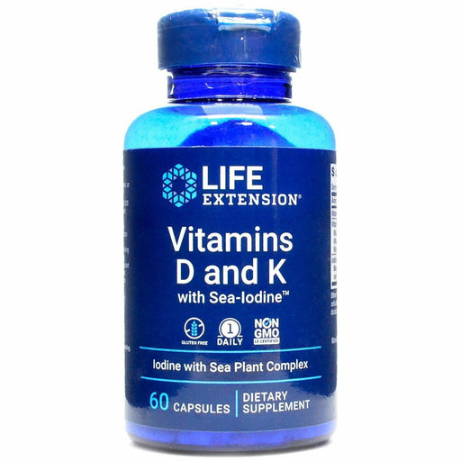 Life Extension, Vitamins D & K with Sea-Iodine 60 caps