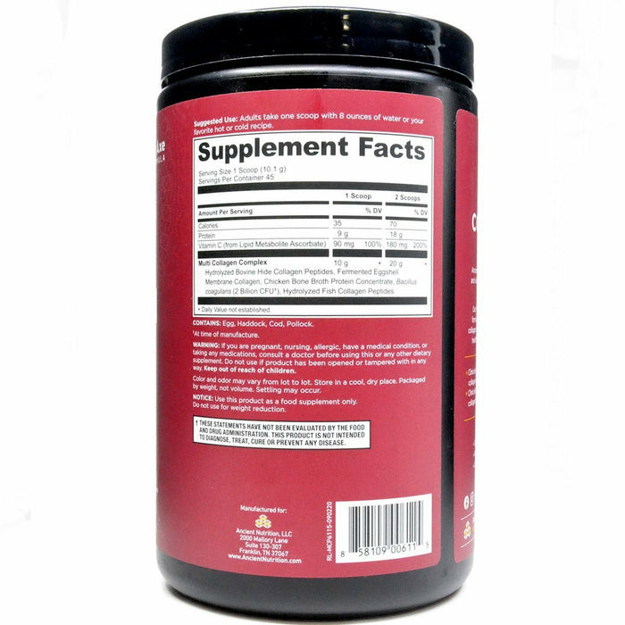 Multi Collagen Protein Powder (Unflavored) by Ancient Nutrition Supplement Facts Label