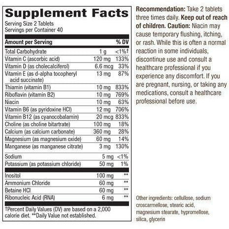 Myo-Tone 80 tabs by Nature's Way Supplement Facts Label