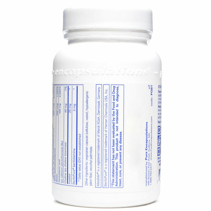 PureGenomics B-Complex 120 caps by Pure Encapsulations Supplement Facts Label-2