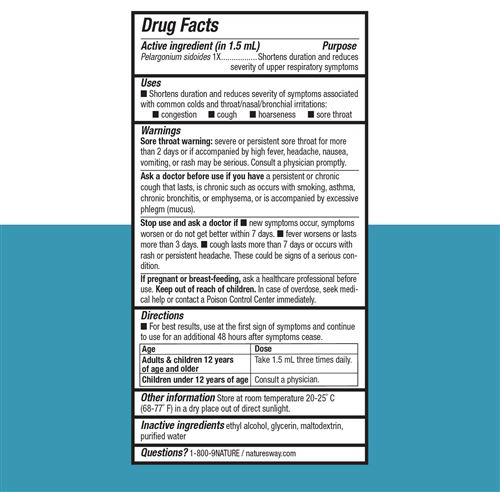 Umcka ColdCare Original Drops 1 oz by Nature's Way Supplement Facts Label