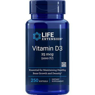 Life Extension, Vitamin D3 1000 IU 250 softgels