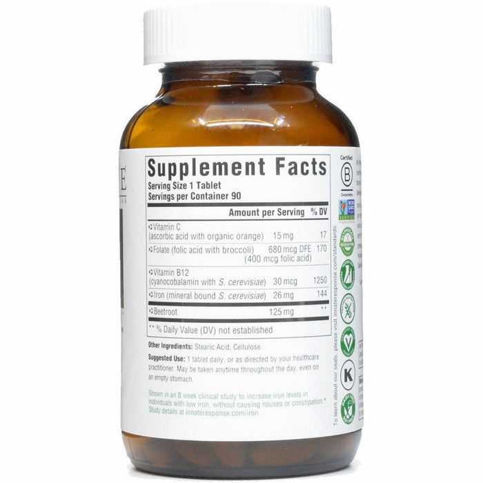 Iron Response 90 tabs by Innate Response Supplement Facts