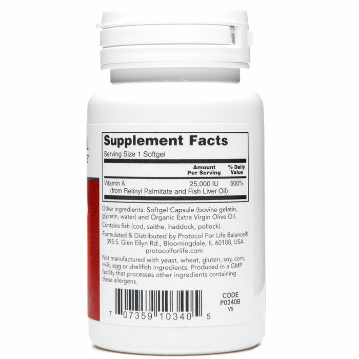Vitamin A 25,000IU 100 gels by Protocol For Life Balance Supplement Facts