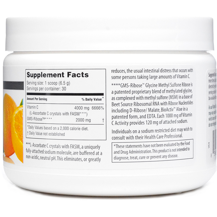 Vitality C 200 gms by American Nutriceuticals Supplement Facts Label
