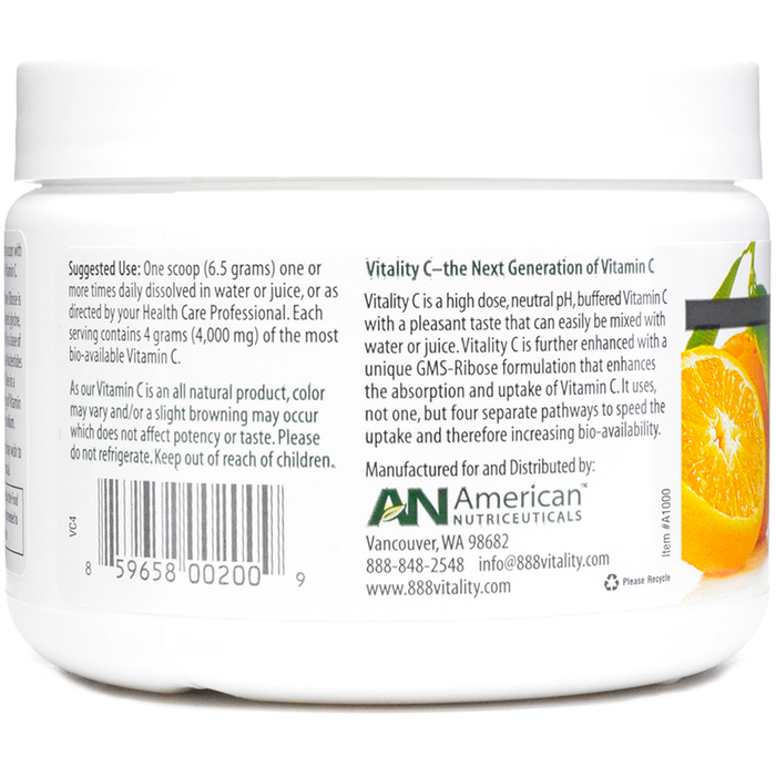Vitality C 200 gms by American Nutriceuticals Suggested Use Label