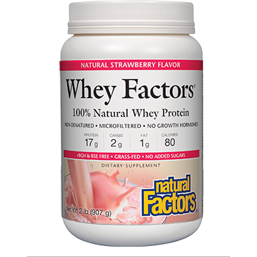 Whey Factors Powder Mix Strawberry 2 lbs by Natural Factors