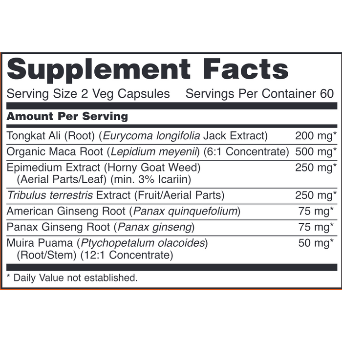 TestoJack 200 by NOW Supplement Facts Label