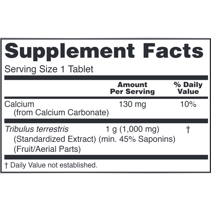 Tribulus 1,000 mg by NOW Supplement Facts Label