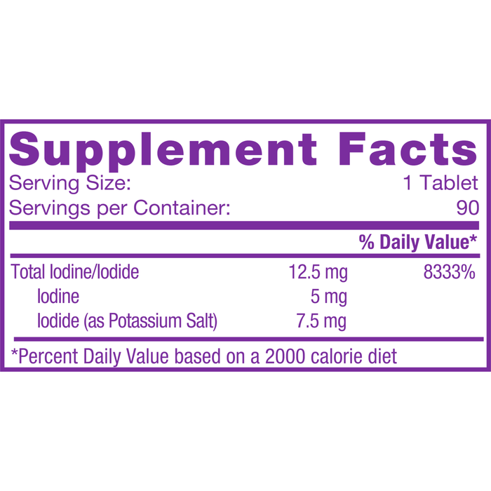 Iodoral 12.5 mg 90 tabs by Optimox Supplement Facts Label