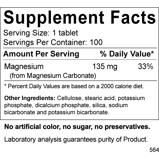 Magnesium Carbonate 135 mg 100 tabs