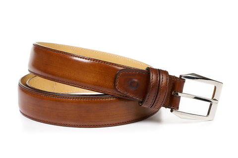 Italian Leather Belt - Havana Brown