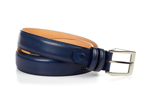 Italian Leather Belt - Blue
