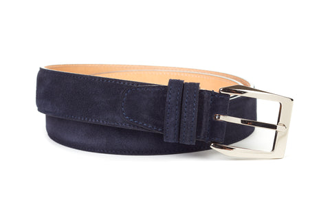 Italian Leather Belt - Midnight Blue Suede