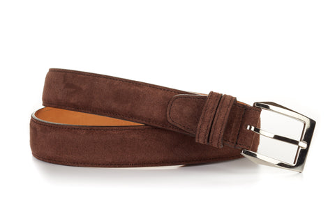 Italian Leather Belt - Cafe Suede