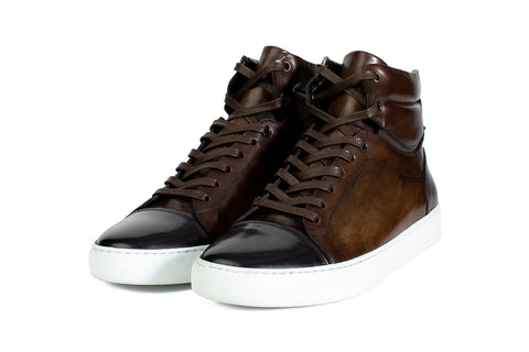 The Lewis High-Top Sneaker - Chocolate