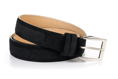 Italian Leather Belt - Nero Suede