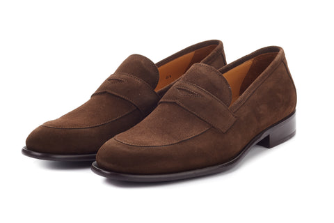 Paul Evans Handmade Italian Leather Men's Dress Shoes - The Stewart Penny Loafer - Cafe Suede