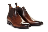 Paul Evans Handmade Italian Leather Men's Dress Shoes - Low-Cut Chelsea Boot - Chocolate