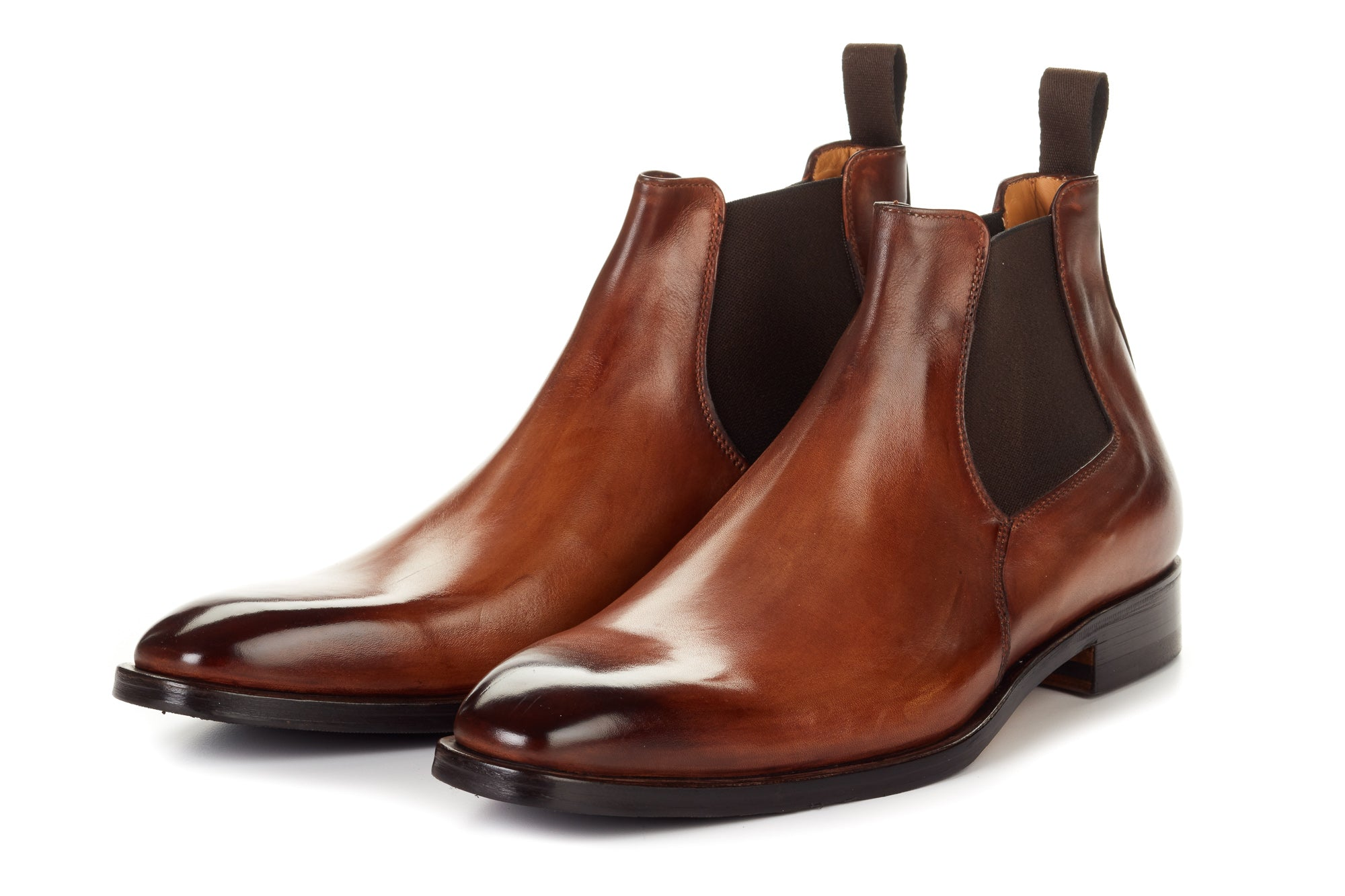 Paul Evans Handmade Italian Leather Men's Dress Shoes - Low-Cut Chelsea Boot - Cacao