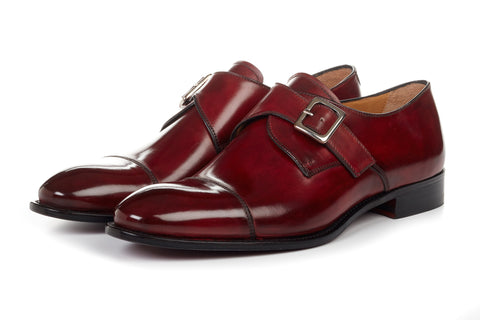 Paul Evans Handmade Italian Leather Men's Dress Shoes - The Olivier Single Monk Strap - Oxblood