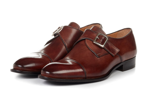 Paul Evans Handmade Italian Leather Men's Dress Shoes - The Olivier Single Monk Strap - Marrone