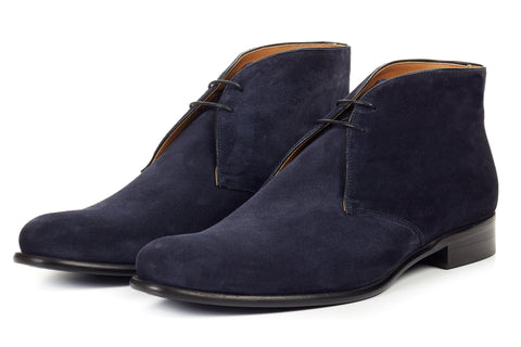 The Newman Chukka Boot - Midnight Blue Suede