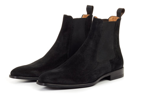 Paul Evans Handmade Italian Leather Men's Dress Shoes - The Dean Chelsea Boot - Nero Suede