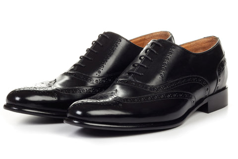 Paul Evans Handmade Italian Leather Men's Dress Shoes - The West II Wingtip Oxford - Nero