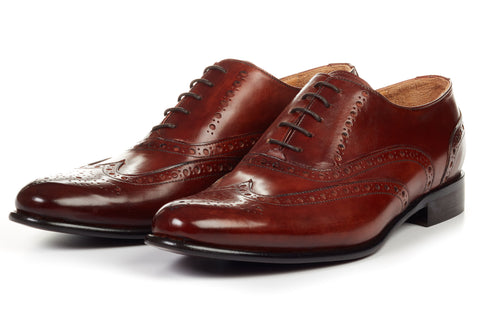 Paul Evans Handmade Italian Leather Men's Dress Shoes - The West II Wingtip Oxford - Marrone