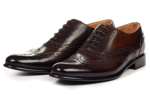 Paul Evans Handmade Italian Leather Men's Dress Shoes - The West II Wingtip Oxford - Chocolate