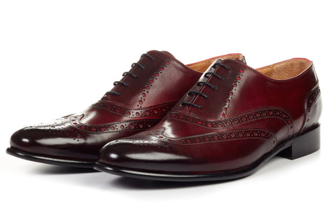 Paul Evans Handmade Italian Leather Men's Dress Shoes - The West II Wingtip Oxford - Oxblood