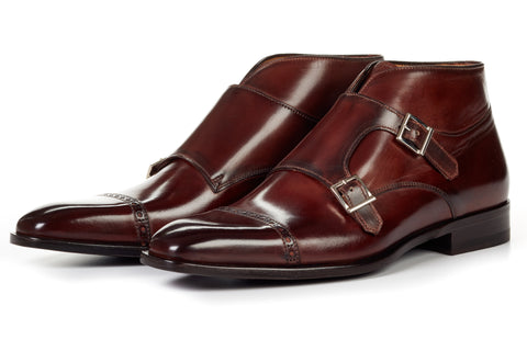 Paul Evans Handmade Italian Leather Men's Dress Shoes - The Heston Double Monk Strap Boot - Chocolate