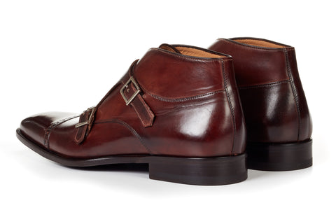 The Heston Double Monk Strap Boot - Chocolate