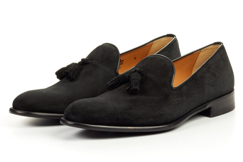 The Chaplin Tassel Loafer - Nero Suede
