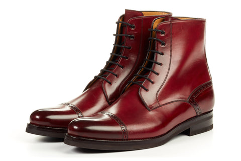 Paul Evans Handmade Italian Leather Men's Dress Shoes - The Presley Lace-Up Boot - Oxblood - Rubber Sole