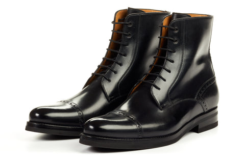 Paul Evans Handmade Italian Leather Men's Dress Shoes - The Presley Lace-Up Boot - Nero - Rubber Sole