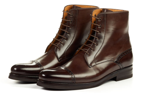 Paul Evans Handmade Italian Leather Men's Dress Shoes - The Presley Lace-Up Boot - Chocolate - Rubber Sole