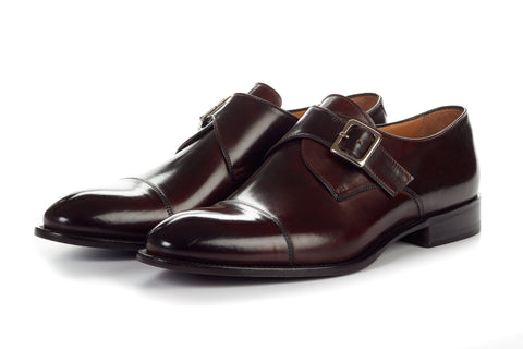 Paul Evans Handmade Italian Leather Men's Dress Shoes - The Olivier Single Monk Strap - Chocolate
