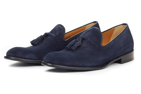 The Chaplin Tassel Loafer - Midnight Blue Suede