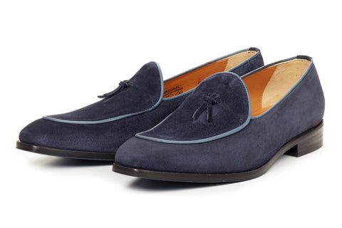 The Van Damme Belgian Loafer - Midnight Blue Suede