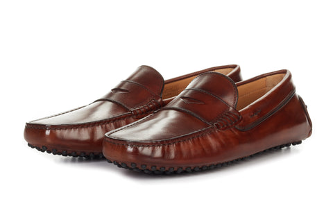 Paul Evans Handmade Italian Leather Men's Dress Shoes - The McQueen Driving Loafer - Marrone - Rubber Sole