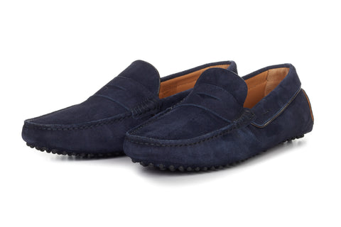 Paul Evans Handmade Italian Leather Men's Dress Shoes - The McQueen Driving Loafer - Midnight Blue Suede - Rubber Sole
