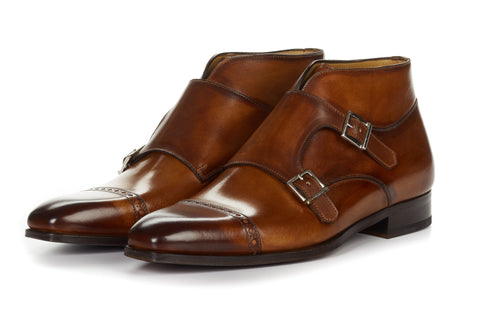 Paul Evans Handmade Italian Leather Men's Dress Shoes - The Heston Double Monk Strap Boot - Havana Brown