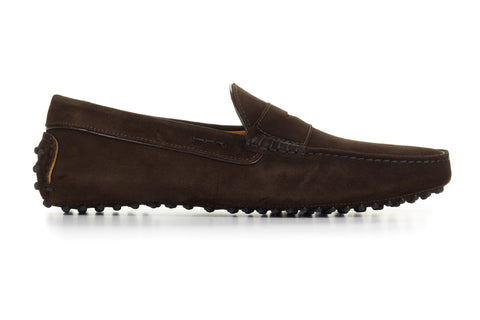 The McQueen Driving Loafer - Dark Brown Suede - Rubber Sole